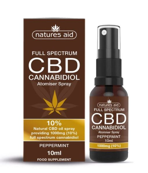 Natures Aid CBD Oil 10% Spray (Peppermint Flavour) 10ml